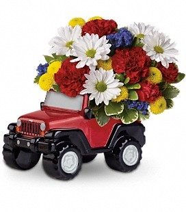 Red Jeep With fresh Father's Day