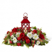 RED LANTERN CENTERPIECE FLORAL ARRANGMENT