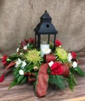 Red lantern centerpiece Lights up Fresh flower Centerpiece