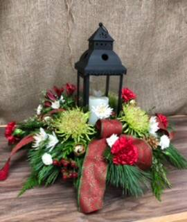 Red lantern centerpiece Lights up Fresh flower Centerpiece  in Clarenville, NL | SOMETHING SPECIAL GIFT & FLOWER SHOP
