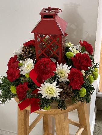 Red Lantern Holiday centerpiece Floral Design