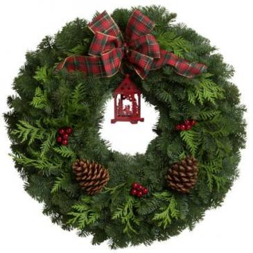 Red Lantern Mixed Evergreen Wreath