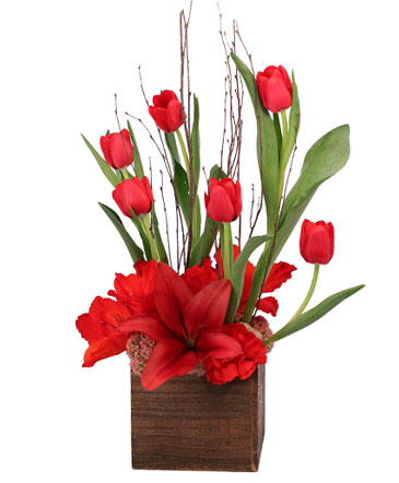 Red Lilies & Tulips Floral Design