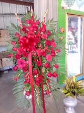 Red magnificent stand Funeral Flowers