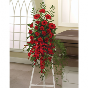 Red Memory funeral spray