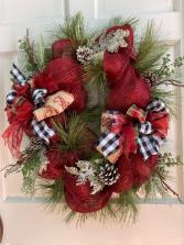 Red Mesh Christmas Wreath Silk