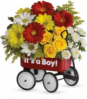 red metal wagon boy new baby