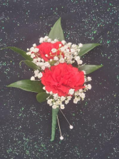 Red Mini Carnation Boutonniere  FHF-902 ***Pick Up Only***