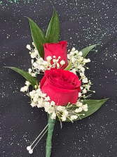 Red Mini Rose Boutonniere  FHF-702 ****Pick Up Only****