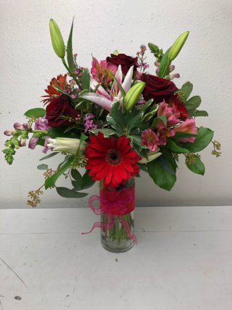 Reliable Rubies Vase Arrangement