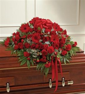 Red Mixed Half Casket Cover Funeral in Crestview, FL | The Flower Basket Florist