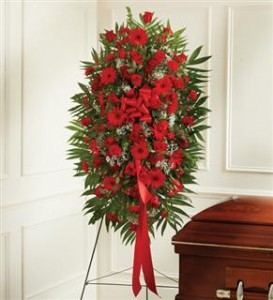 Red Mixed Sympathy Standing Spray Funeral in Crestview, FL | The Flower Basket Florist
