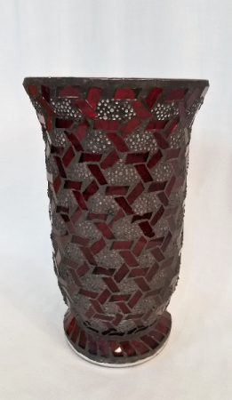 Red Mosaic Glass Vase