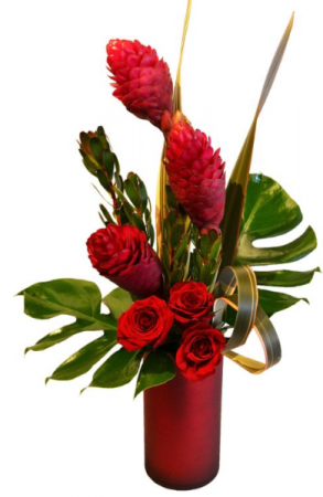 RED PASSION ELEGANT MIXTURE OF TROPICAL FLOWERS