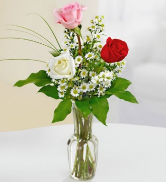 Red Pink and White Rose Bud Vase