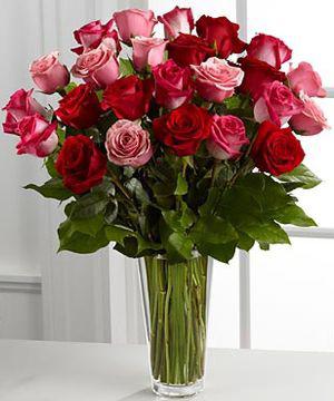 Red & Pink Roses Rose Arrangment