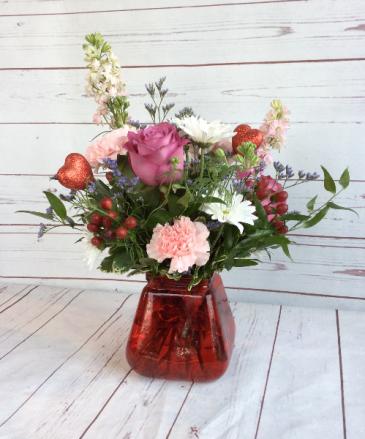 Red Posie Vase