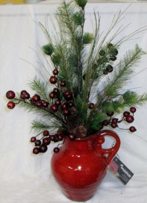 Red Pottery Pitcher Permanent Arrangement by Inspirations Floral Studio in Lock Haven, PA | INSPIRATIONS FLORAL STUDIO