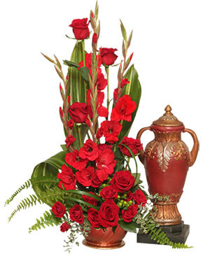 Red Remembrance Cremation Flowers  (urn not included)  in Solana Beach, CA | DEL MAR FLOWER CO
