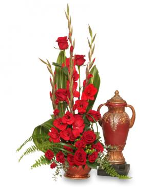 Red Remembrance  Cremation Flowers  (urn not included)  in Richland, WA | ARLENE'S FLOWERS AND GIFTS