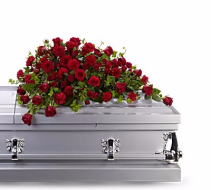 Red Reverence Casket Spray