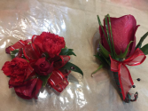 Red Right Corsage and Boutonniere Prom