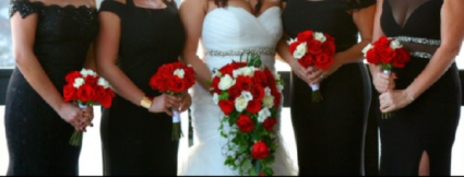 Red Romance Bridal Package 1 Bride and 4 Bridesmaids