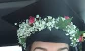 RED ROSE AND BAB'Y'S BREATH CAP PIECE GRADUATION CAP/HEADPIECE