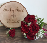 Red rose and baby's breath Wedding bouquet