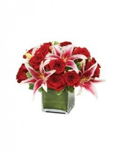 Modern Embrace Red Rose and Lily Cube Valentine's Day