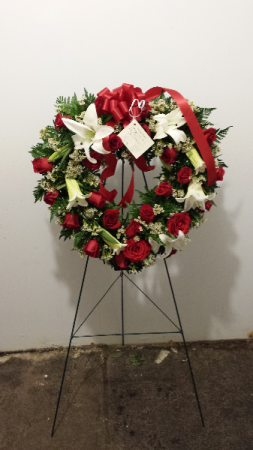 Red rose and lily heart wreath Easel Spray in Barnesville, OH | THE FLOWER GARDENS