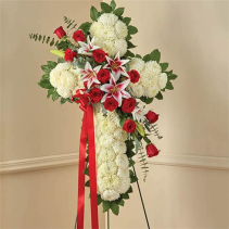 Red Rose And Lily Standing Cross Item #147287