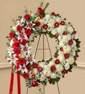 Red Rose and Lily Standing Wreath sympathy flowers