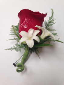 Red Rose and Stephanotis Boutonniere