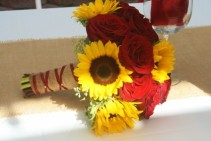 RED ROSE AND SUNFLOWER Wedding Bridal Bouquet