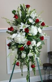 RED ROSE AND WHITE HYDRANGEA STANDING SPRAY STANDING FUNERAL PC ON A 6' STAND