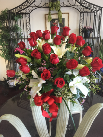Red Rose and White Lily Arrangement