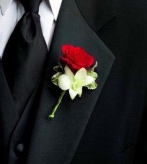 Red rose and White orchid  Boutonniere