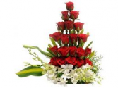 RED ROSE AND WHITE ORCHIDS BOX ARRANGEMENT