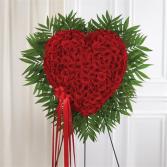 Red Rose Bleeding Heart Standing Spray