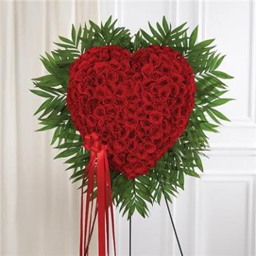 Red Rose Bleeding Heart Sympathy Arrangement