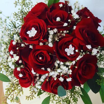 Red Rose Wedding Bouqet.A Secret Garden Floral