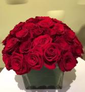 Red Rose Bouquet  Cube vase arrangement