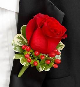 RED ROSE BOUTONNIERE  in Camp Pendleton, CA   CAMP PENDLETON FLORIST