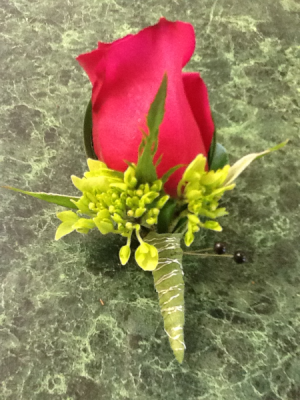 Red Rose Boutonniere in Fairfield, CT | Blossoms at Dailey's Flower Shop