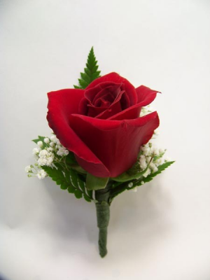 Red Rose Boutonniere Prom Flowers in Lock Haven, PA | INSPIRATIONS FLORAL STUDIO