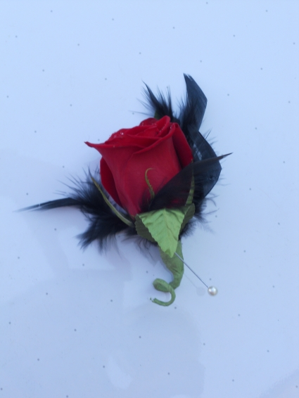 Red Rose Boutonniere with Black Feathers