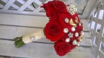 Red Rose Broach Bouquet Round Hand Tie