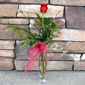 Red Rose Bud Vase Classic Rose Arrangement