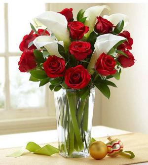Red Rose & Calla Lily Bouquet  in Coconut Grove, FL | Luxury Flowers
